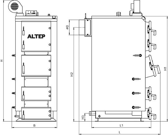 Твердотопливный котел купить в киеве КТ-2Е 50-120 кВт