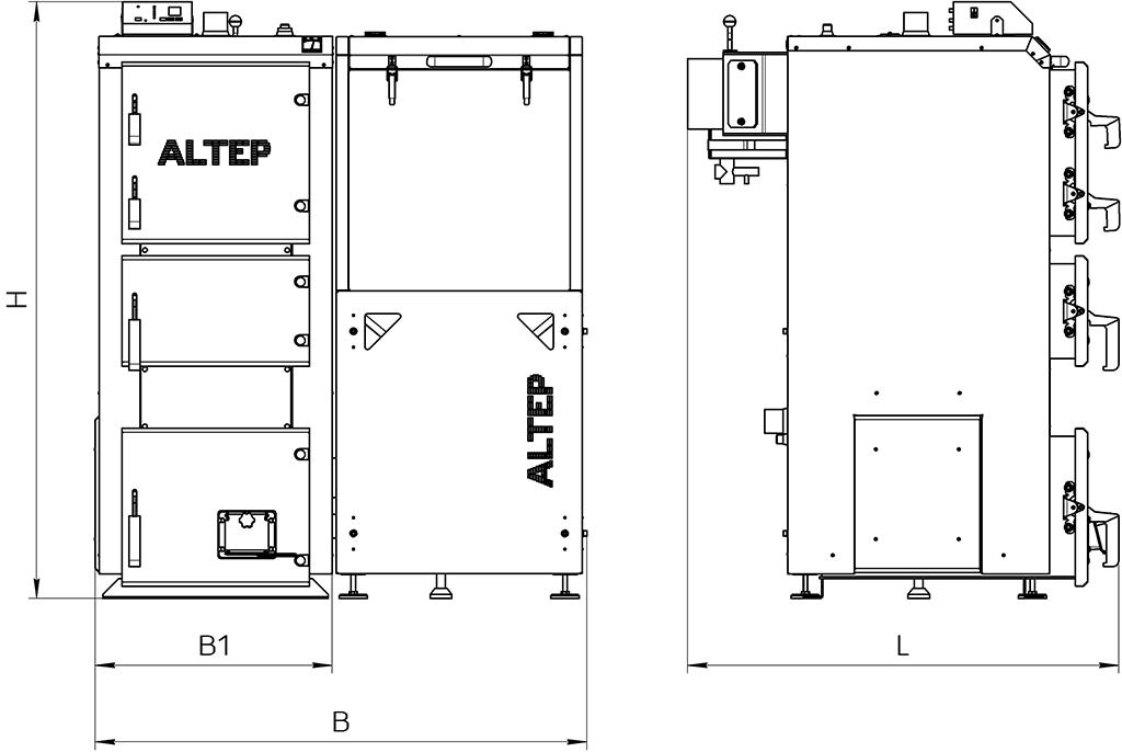 Габаритные размеры котла Duo Pellet
