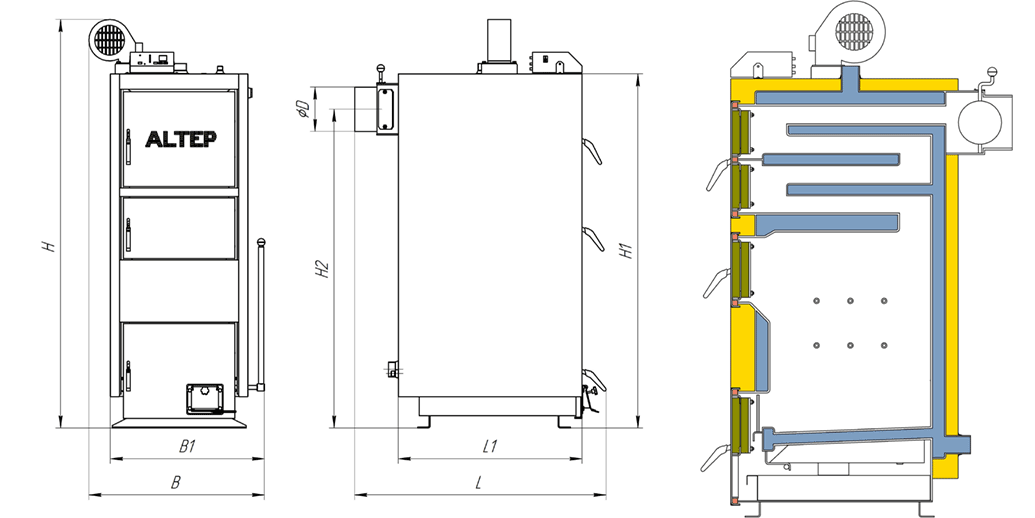 Габаритные размеры котла Duo UNI/Duo UNI PLUS (КТ-2ЕN/NM) 15-40 кВт