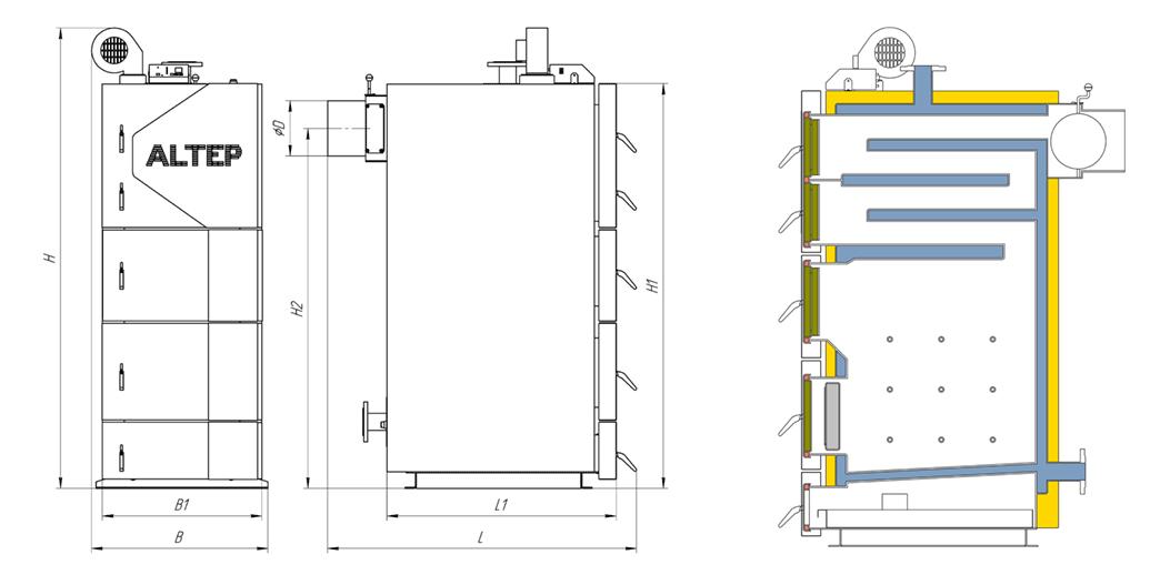 Габаритные размеры котла КТ-2ЕN 50-75 кВт
