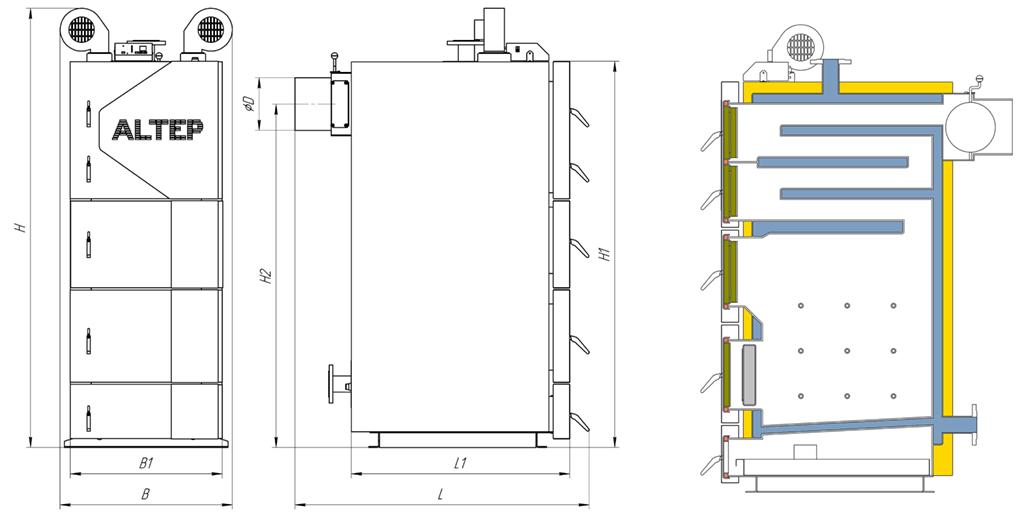 Габаритные размеры котла Duo UNI PLUS 95-150 кВт