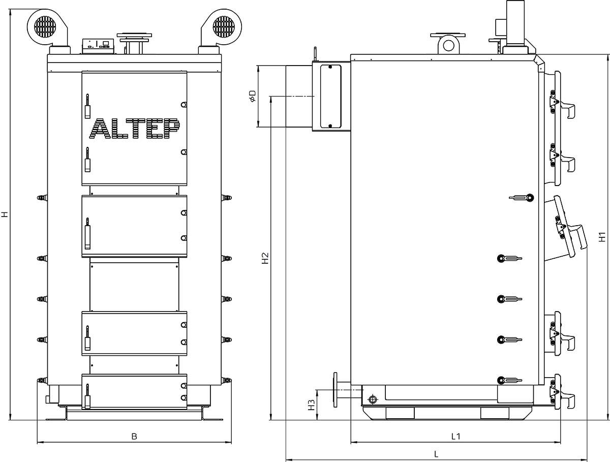 Габаритные размеры котла Альтеп DUO PLUS (КТ-2Е) 150-250 кВт