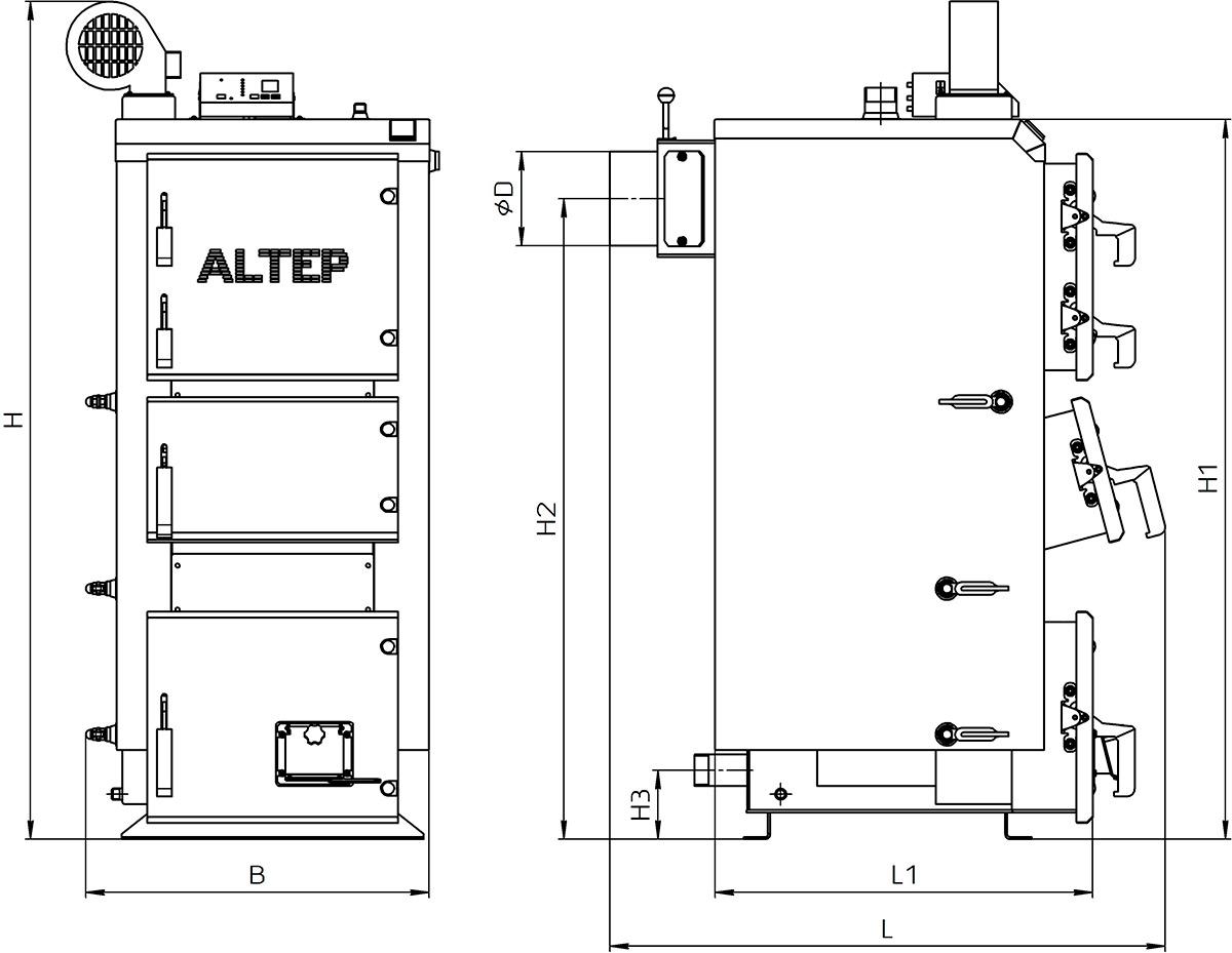 Габаритные размеры котла Альтеп DUO PLUS 17-38 кВт