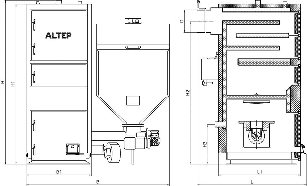 Габаритные размеры котла Duo Pellet N (КТ-2ЕSHN)